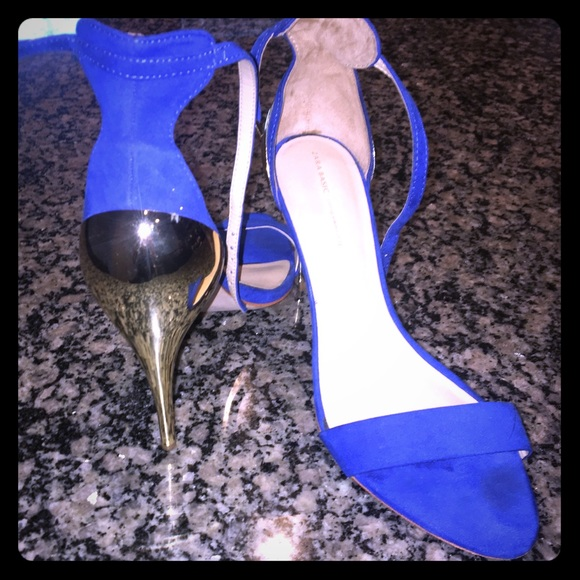 6c9f2038f4 Zara Shoes | Royal Blue Metallic Gold Ankle Strap Heels | Poshmark